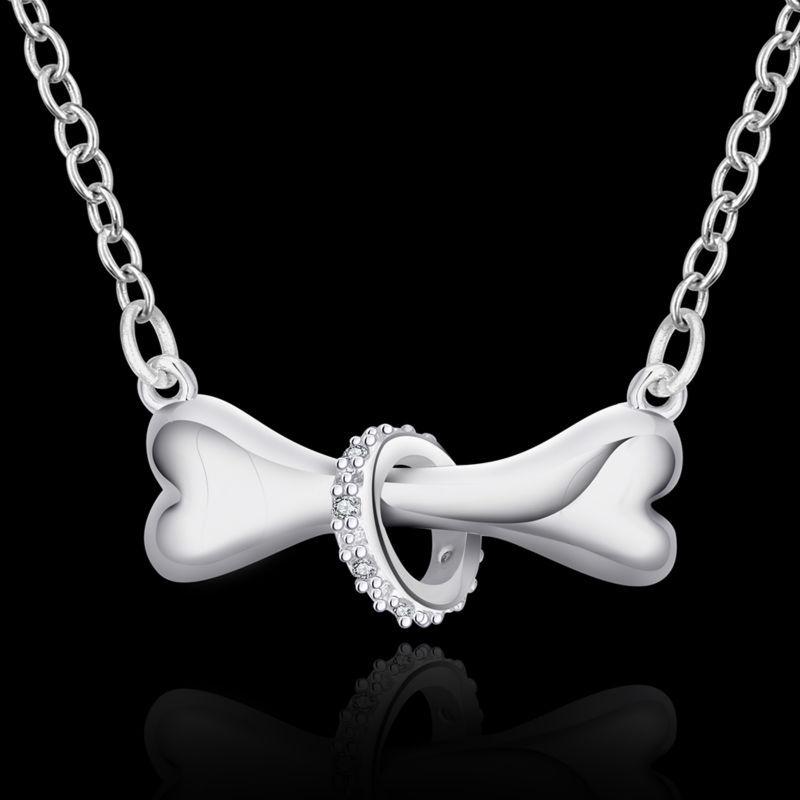 Damenkette - Halskette Kette Knochen Hund Halsband Zirkonia Legierung