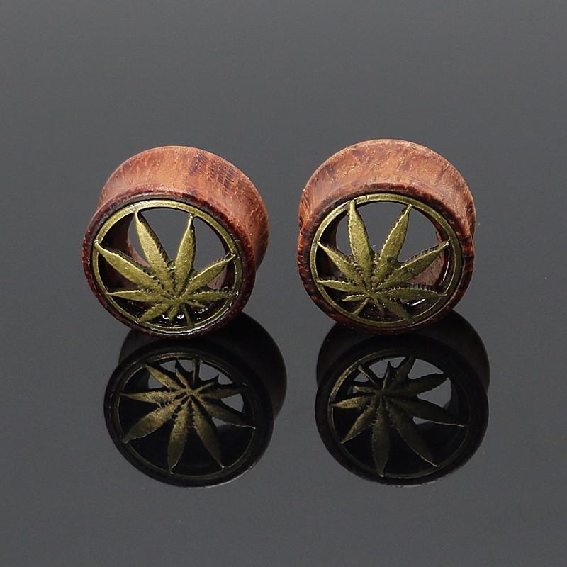 flesh tunnel hanf cannabis plug organic holz piercing. Black Bedroom Furniture Sets. Home Design Ideas