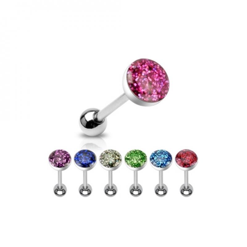 Zungenpiercing - Glitter Piercing 16mm Zunge Stab Zirkonia Hantel Sil