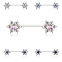 Brustwarzenpiercing - Nippelpiercing Piercing 16mm Blume...