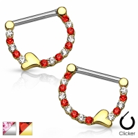 Brustwarzenpiercing - *SET* Brustpiercing Zirkonia Herz...
