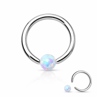 Captive Bead Ring - Septum Synthetic Opal Piercing Ring...
