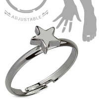 Damenring - Zehenring Fingerring Stern Grau Messing Ring...