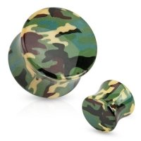Flesh Tunnel - Camouflage Gr�n Tarnmuster Plug Ohrring...