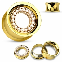Flesh Tunnel - Gold Perle Inlay Plug Ohrring Ohrpiercing...
