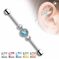 Industrial Piercing - Barbell Ohrpiercing Hantel Kristall...