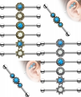 Industrial Piercing - Barbell Ohrpiercing Hantel Opal...