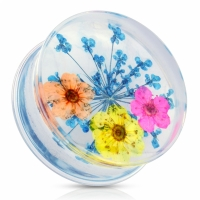 Ohr Plug - Blumen Acryl Piercing Ohrring Flesh Tunnel...