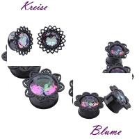 Plug - Blume Tribal Schwarz Aurora Flesh Tunnel Piercing...