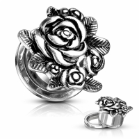 Plug - Blumen Rose Flesh Tunnel Anhänger Piercing SCREW...