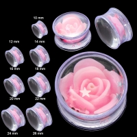Plug - Rosa Glitter Rose Inlay Flesh Tunnel Acryl Ohrring...