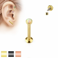 Tragus Piercing - Labret Stud Barbell Opal Piercing...