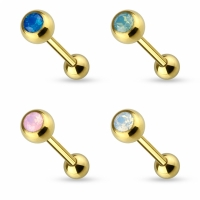Zungenpiercing - Piercing 16mm Gold Opal Chirurgenstahl...