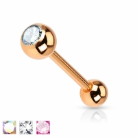 Zungenpiercing - Piercing 16mm Rose Gold Zirkonia Zungen...
