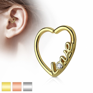 Captive Bead Ring - LOVE Closure Ring Piercing Herz Helix Tragus Zirkonia #423