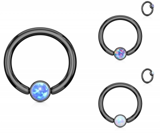 Captive Bead Ring - Opal Piercing Tragus Helix Closure Ring Schwarz Septum #456
