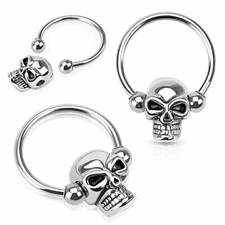 Captive Bead Ring - Septum Piercing Totenkopf Brustwarze Tragus Silber Closure