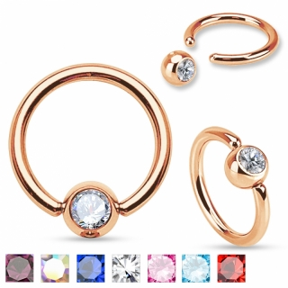 Captive Bead Ring - Septum Piercing Zirkonia Helix Tragus Rose Gold Closure #335