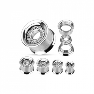 Flesh Tunnel - Piercing Ohr Plug Zirkonia Inlay Edelstahl SCREW FIT