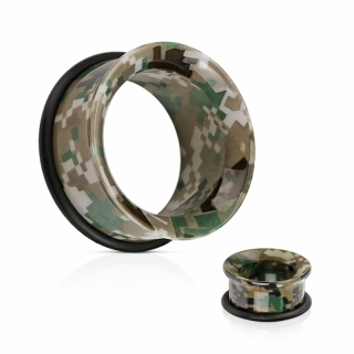 Flesh Tunnel -  Pixel Camouflage Tarnmuster Ohrring Plug Acryl Piercing