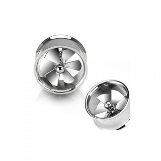 Flesh Tunnel - Spinning Fan Turbine Plug Silber Piercing Edelstahl Double Flared