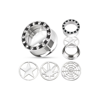 Flesh Tunnel - Zirkonia Plug Piercing Stern Cannabis Netz SCREW FIT Silber Hanf