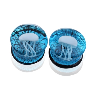 Glas Plug - Qualle Blau Weiß Flesh Tunnel Inlay Piercing Double Flared