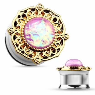 Plug - Flesh Tunnel Blume Opal Rosa Zirkonia Piercing Ohrpiercing Gold #291