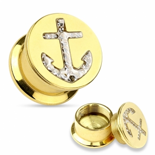 Plug - Flesh Tunnel Gold Anker CZ Ohrring Ohrpiercing Piercing Chirurgenst. #251