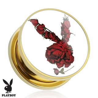 Plug - Playboy Rosen Piercing Gold 14K Ohrring Flesh Tunnel Ohrpiercing #232
