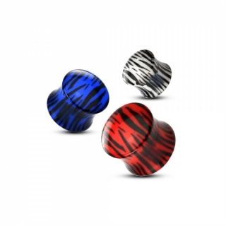 Plug - Tiger Flesh Tunnel Acryl Piercing Ohrring Ohrpiercing Zebra Double Flared