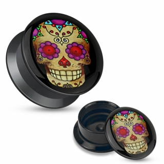 Plug - Totenkopf Sugar Skull Flesh Tunnel Acryl Piercing Ohrring Ohrpiercing Anhänger