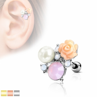Tragus Piercing - Barbell Piercing Rose Opal Perle Ohrpiercing Helix Cartilage #523