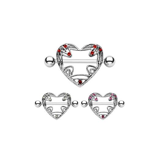 Brustwarzenpiercing Brustpiercing Piercing 19mm Anhänger Zirkonia Herz #87