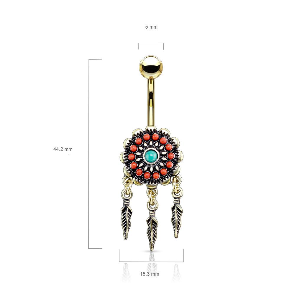 Bauchnabelpiercing Traumfänger Blume Boho Vintage Anhänger Perlen Piercing#732