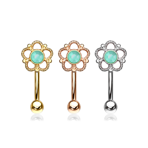Augenbrauenpiercing - Boho Piercing Blume Rook Curved Barbell Bohemian