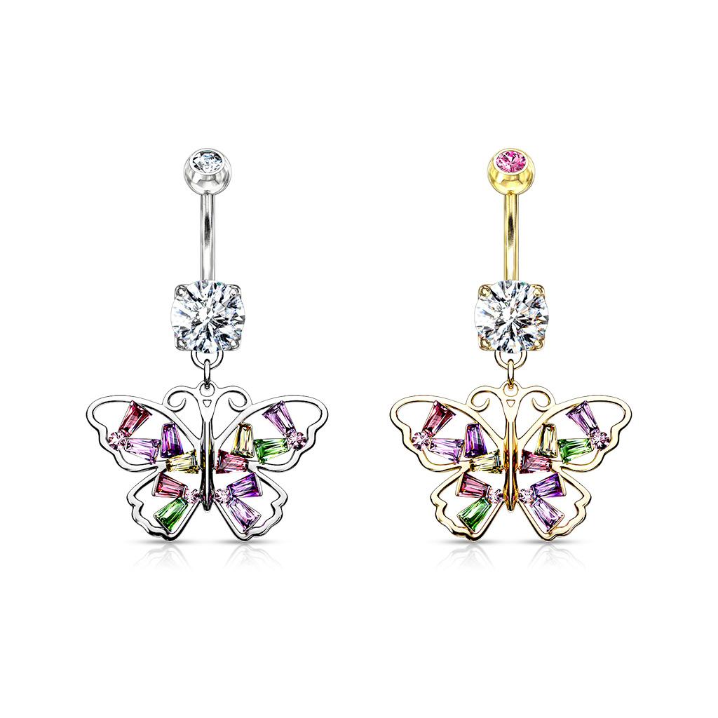 Bauchnabel Piercing Schmuck Schmetterling mit zwei Ketten Hänger
