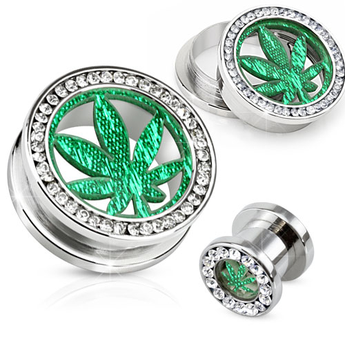 Flesh Tunnel - Cannabis Blatt Dope Plug Zirkonia Piercing SCREW FIT Hanf Grün