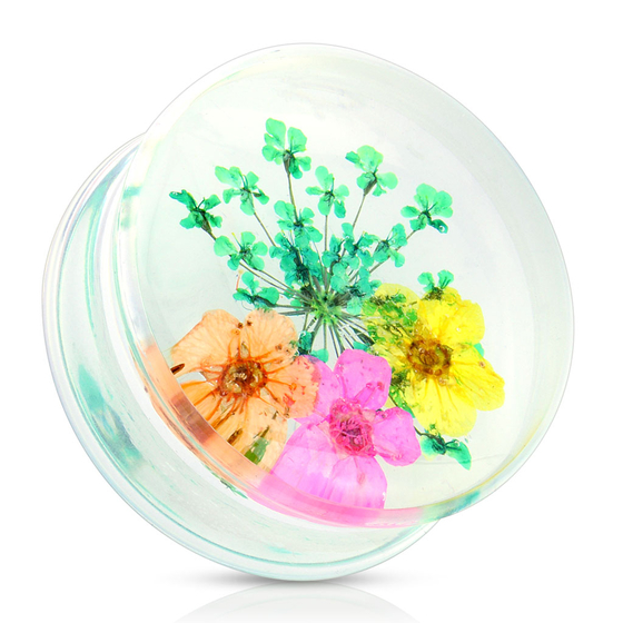 Plug - Blume Piercing Acryl Flesh Tunnel Ohrpiercing (Grün Gelb Orange Pink) #S