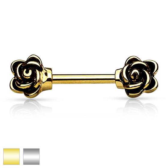 Brustwarzenpiercing - Brustpiercing Piercing 12mm Rose Anhänger #250