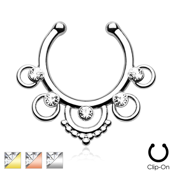 Fake Septum - Zirkonia Nasenring Piercing Nasenpiercing Ring Nasenstecker Messing #286
