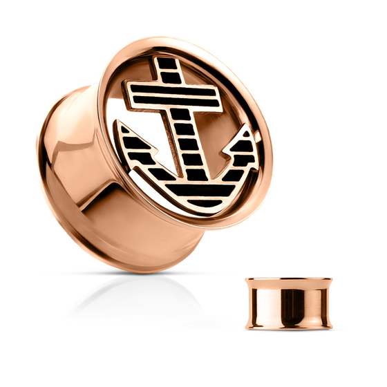 Flesh Tunnel - Anker Vintage Plug Double Flared Piercing Rosegold vergoldet