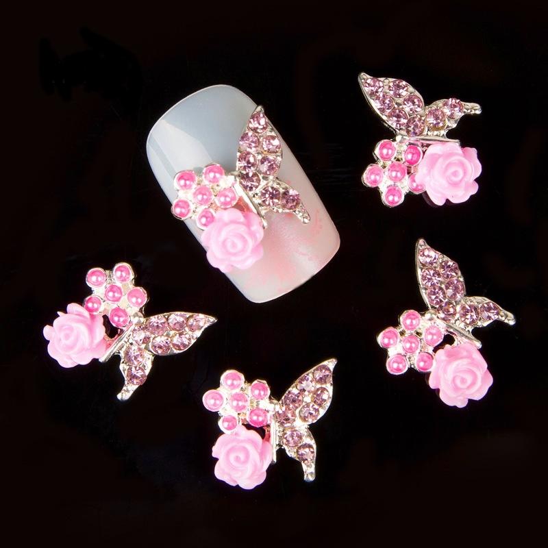 Stein Rose: 2x Schmetterling Rose 3D Einleger