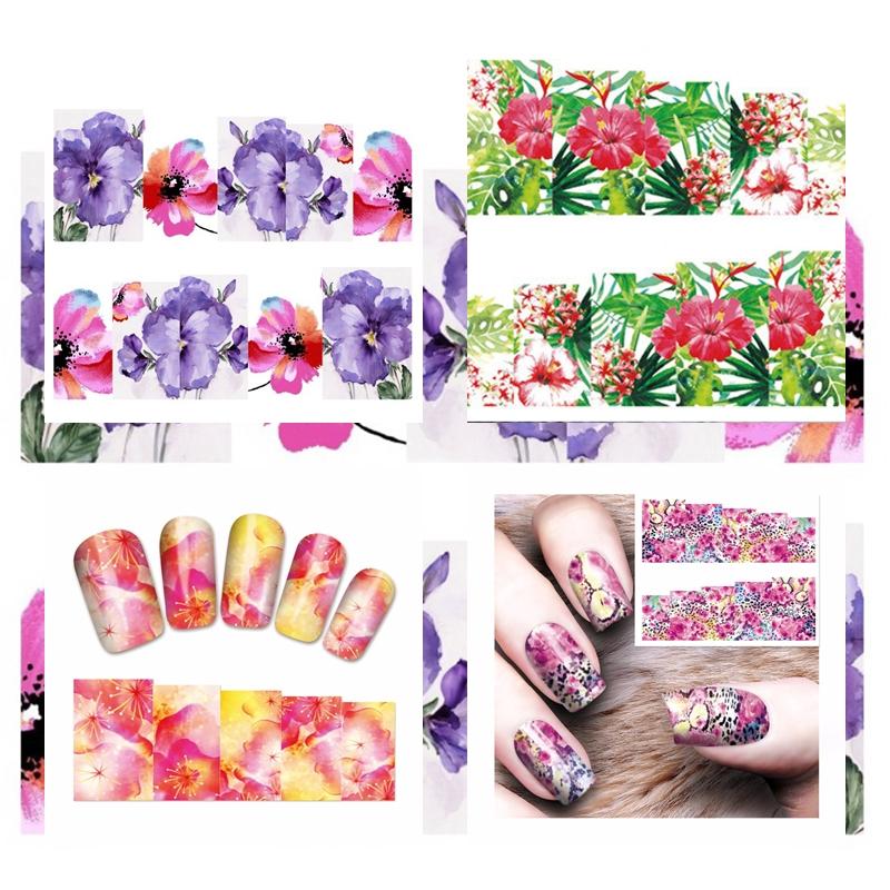 Nail Art Sticker Nailart Blumen Hibiskus Jungel Leo Nagelsticker