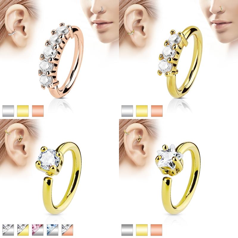 Nasenpiercing Nasenring Septum Piercing Ring Zirkonia Captive Bead Ring Strass