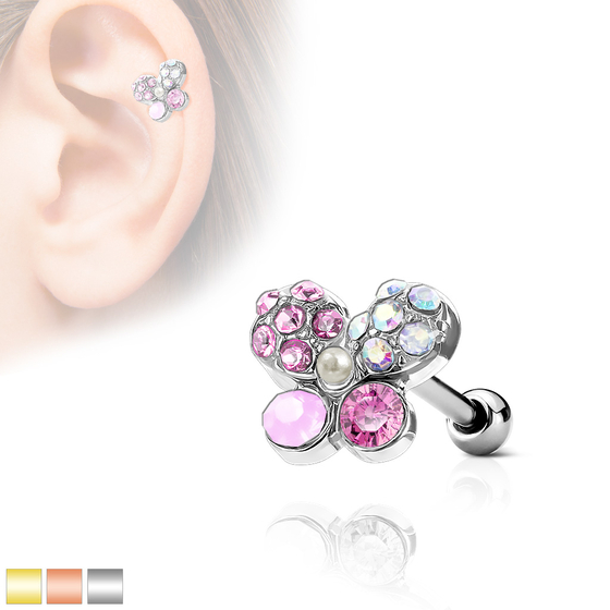 Tragus Piercing - Barbell Piercing Schmetterling Bunt Ohrpiercing Helix Cartilage #525