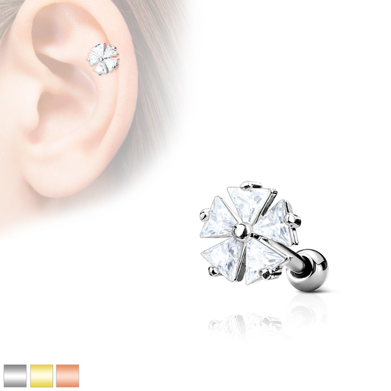 Tragus Piercing - Barbell Piercing Blume Ohrpiercing Helix Cartilage #525