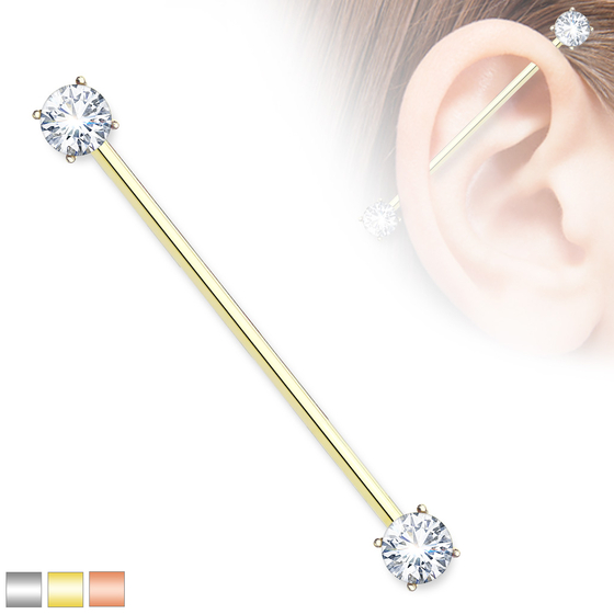 Industrial Piercing - Zirkonia Barbell Ohrpiercing Zirkonia Klar Scaffold