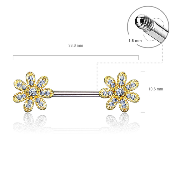 Brustwarzenpiercing - Nippelpiercing Blume Piercing 16mm Zirkonia Barbell #594
