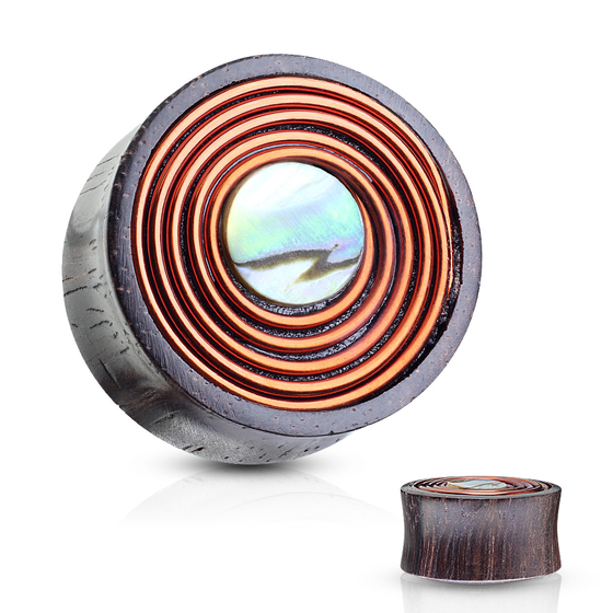 Plug - Sono Wood Flesh Tunnel Holz Perlmutt Piercing Double Flared